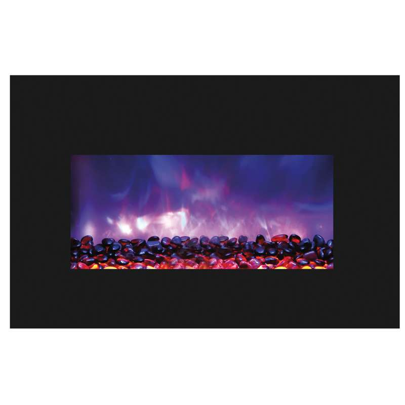 30 Medium Insert Electric Fireplace with Black Glass Surround