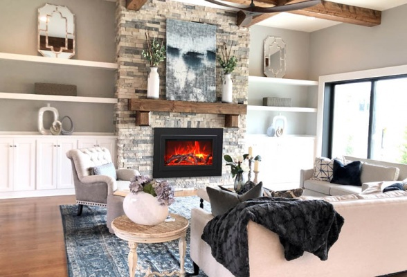 33 Electric Fireplace with Large View