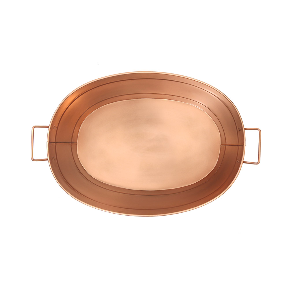 Copper Oval Tub w/  Wrought Iron Handles