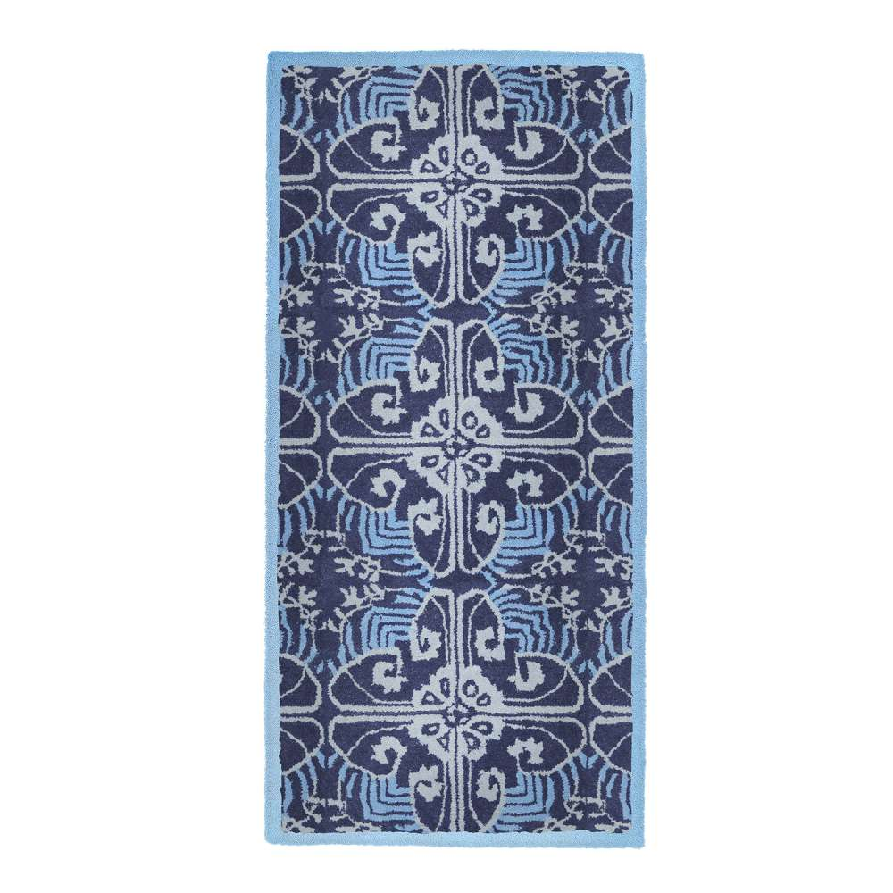 Prussian Blue Art Deco Rect Rug 56x26