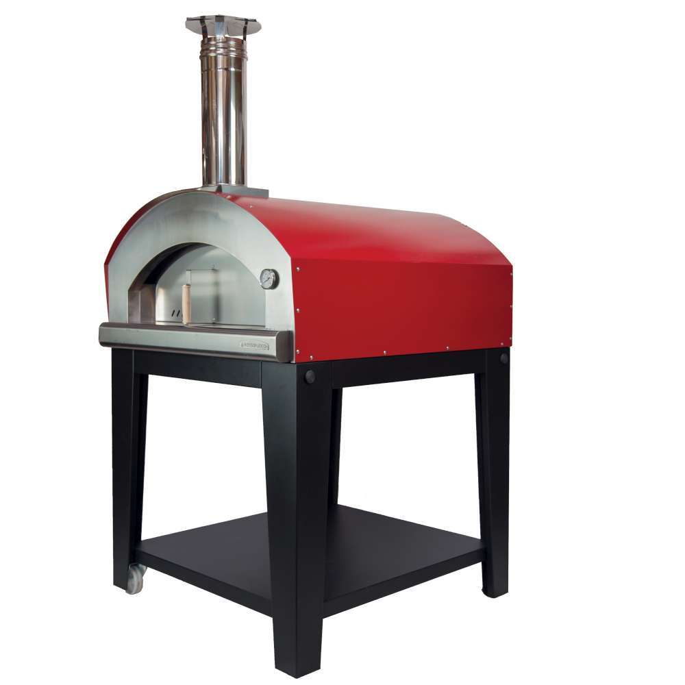 Large Pizza Oven (Red) - Wood Fired w/Black Cart