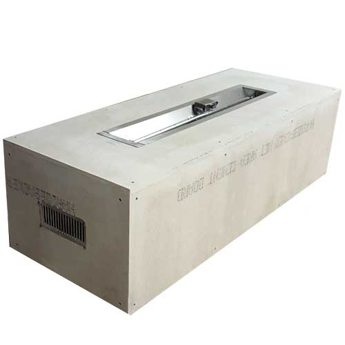 HPC Fire Rectangle Enclosure with 48-inch Trough Burner Insert with electronic ignition